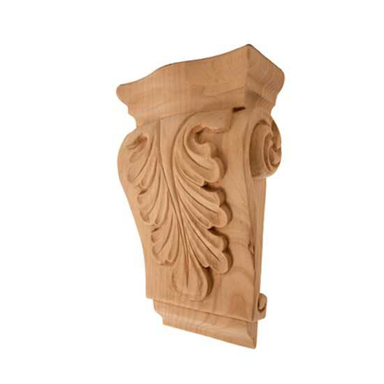Low Profile Acanthus Corbel Red Oak 3-1/2 x 1-1/4 x 5-1/2