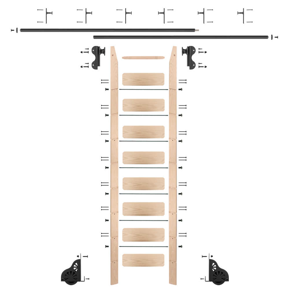 Rolling 9' Maple Ladder Kit, black, with 8' total railing