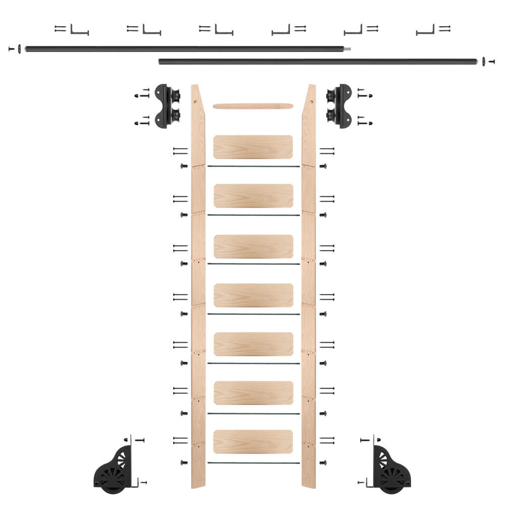 Rolling 8' maple Ladder Kit, Black with 12' of railing