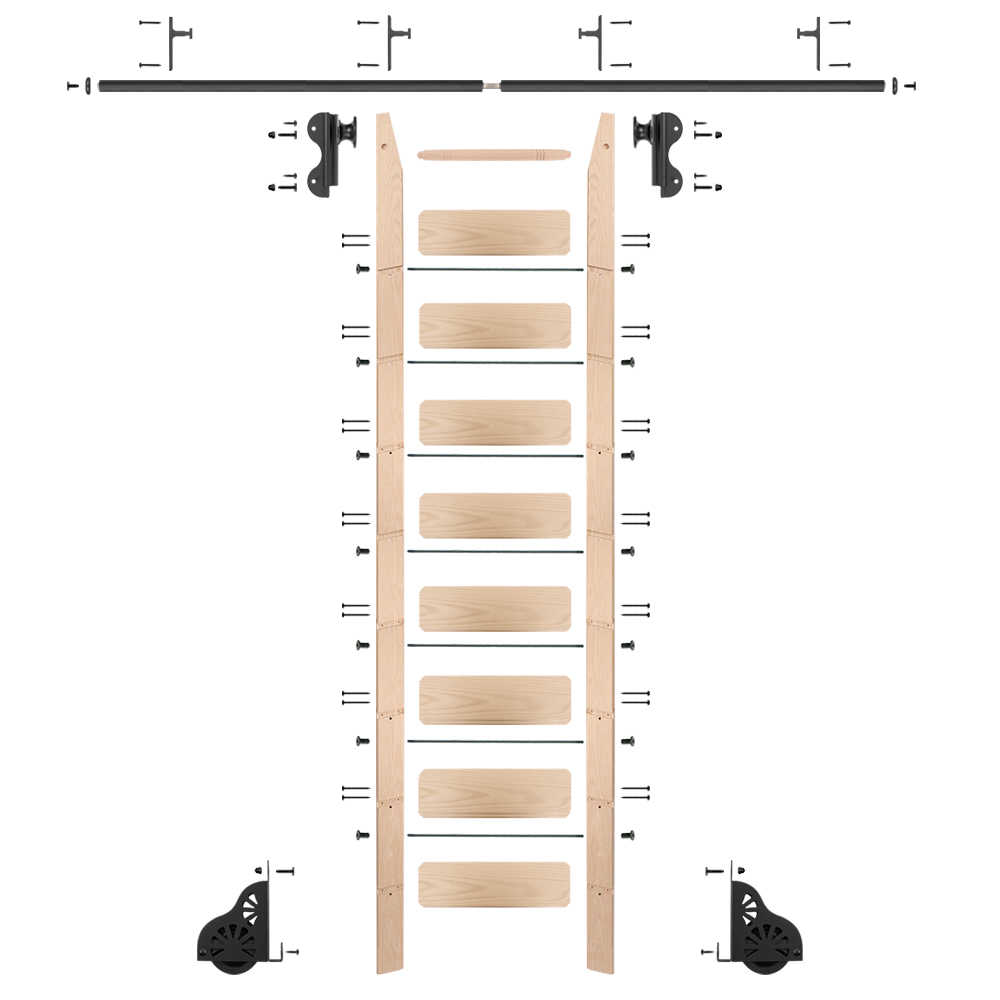 Rolling 9' maple Ladder Kit, black, with 12' of railing
