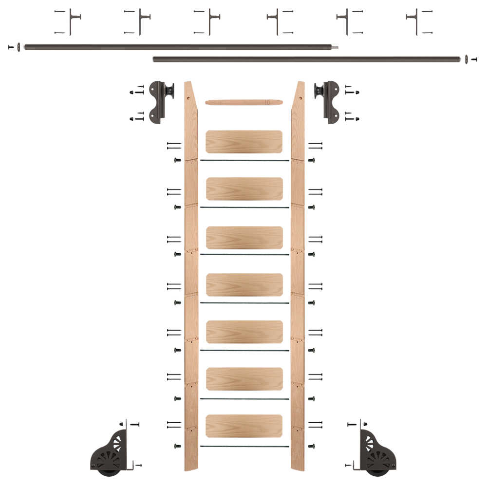 8 Ft. Rolling Library Red Oak Ladder Kit with 12 Feet of Track