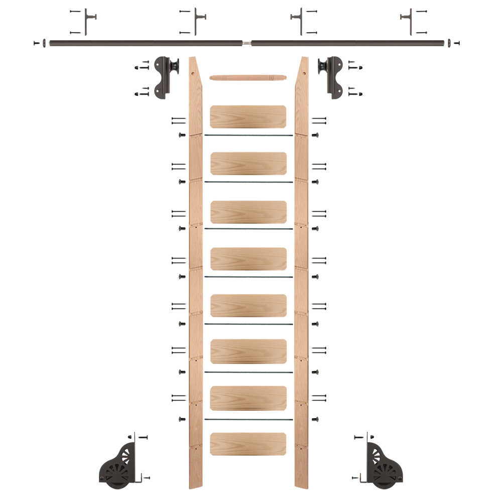 Rolling 9' red oak Ladder Kit, oil rubbed bronze, with 8' total railing