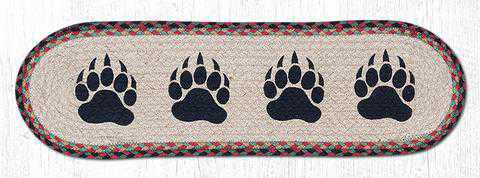 8.25'X27' Burgundy/Black/Sage Oval Printed Paws Stair Tread